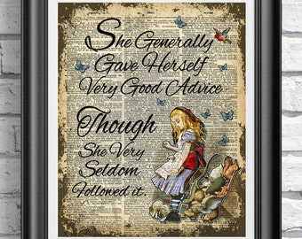 Alice in Wonderland book page print. Art print on antique dictionary book page Alice quote. Wall decor poster Gift Idea