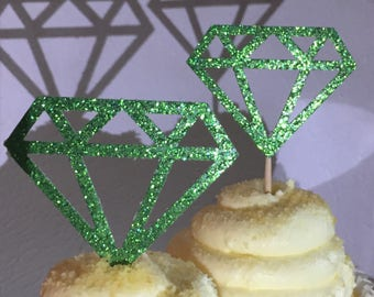 12 Emerald Emeralds Diamond Diamonds  Cupcake Toppers Topper Wedding Bride Engagement Ring