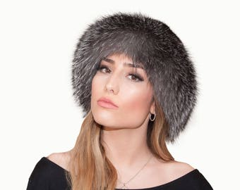 Silver fox fur and black mink fur hat. Silver fox fur hat. Black mink fur hat. Mink fur hat. Fox fur hat. Fur hat. Women's hat. Gift for her