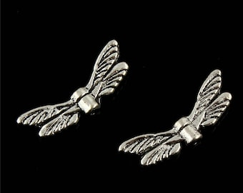 Ladybug wings 20 * 6 mm set of 8 silver tone charms.