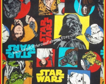 Star Wars Characters from the Original Trilogy on Cotton Fabric - Lord Vader, Han Solo, R2-D2 - By the Fat Quarter or Yard