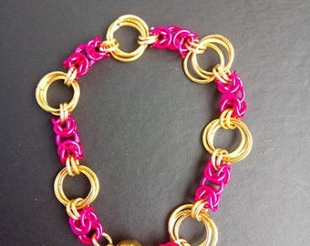 Pink and Gold Chain Maille Bracelet
