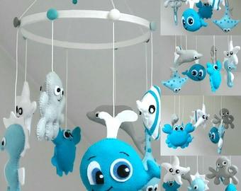 Under the Blue Sea baby crib felt mobile / Blue sea animals / octopus / starfish / rayfish / whale / crabe / seahorse