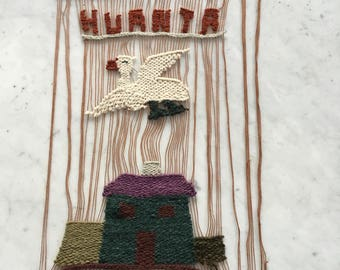 Vintage Mid Century Peruvian Woven Wall Hanging Huanta Bird House Tourist Souvenir SALE