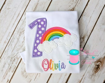 Rainbow shirt - Rainbow Applique shirt - Rainbow Birthday Shirt - Rainbow Applique - Rainbow embroidery - Birthday Applique Shirt - Birthday