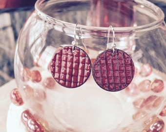 Paint the Town Red, Lipstick Red Vitreous Glass Enamel Copper Penny Earrings