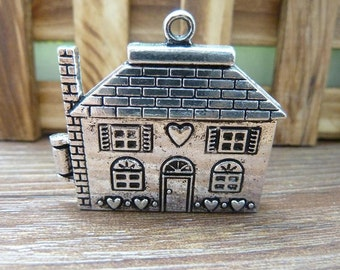 2pcs 7*37*41mm Antique Silver can  Open house Bungalows House Flying House,Flying Dreams Charm Pendant