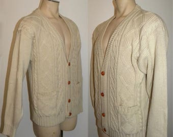 """1970s 80s Cardigan Sweater / Grunge Vintage Fisherman Sweater / Acrylic Cable Knit Jumper / Vintage size L 46"""" chest"""