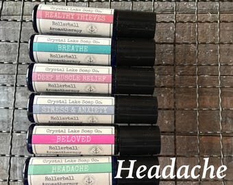 HEADACHE Relief Rollerball Aromatherapy Essential Oil Blend Organic / Lavender Peppermint Wintergreen Basil Frankincense Rosemary Orange