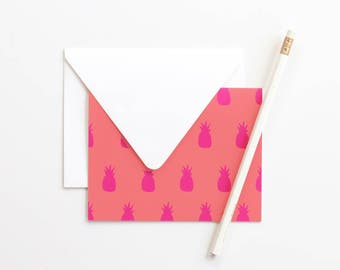 Pineapple Note Cards Blank Thank You Notes Stationery Set Tropical Bridesmaid Gifts Pineapple Wedding Stationary for Girls Pink Coral Cards