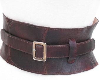 Corset belt, leather cincher ,Hand made moulded brown leather corset belt, adjustable,leather corset,steampunk,wedding,statement belt,belt,