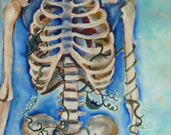 Original Oil Painting, Skeleton