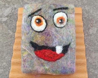 Felted Soap - Silly Monster Design in an Unscented Coconut Milk Soap