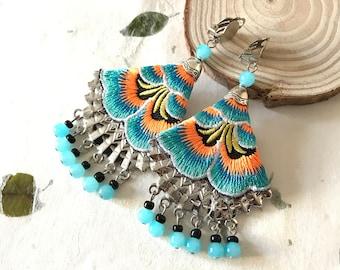 Turquoise earrings, wanderlust jewelry, oriental embroidered earrings, tropical beach party jewelry, hawaiian earrings, summer festival