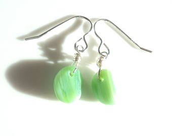 Seaham Sea Glass hook earrings of Jadeite Green drops suspended from Sterling Silver hooks - E1782 - from Seaham,  UK