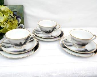 Vintage Teacup and Saucer Trios, Sets of 3, Fukagawa #903, Asian decor, purple and black