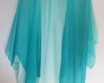 Teal Ombre Chiffon Kimono