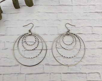 Multi- hoop chandelier earrings / ** Please ask to replace the silicone hook earrings** / Gift / Birthday gift