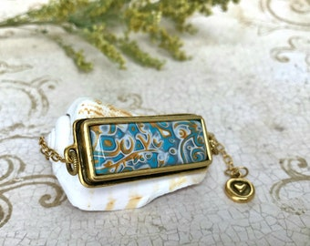 Gold plated polymer clay bar necklace, unusual bar necklace, blue gold pendant, unique pendant necklace, perfect gift for her sister