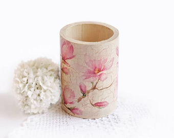 Wooden Pencil Holder For Desk Decoupage Office Accessories Indoor Flower Pot