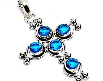 Gorgeous!!! Swiss Blue Quartz 925 Silver Overlay Gemstone Jewelry Pendant