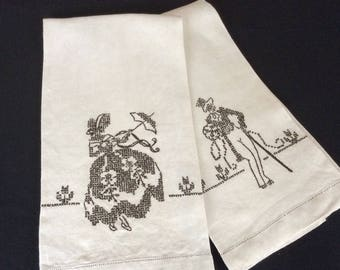 2 Vintage Linen Tea Towels w/ his and her cross stitch Guest Towels Hostess Gift