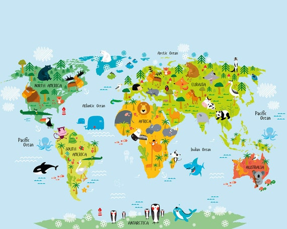 Kids world map wall mural education world map kids map art gumiabroncs Image collections