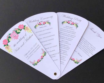 Rustic Floral Wedding Program Petal Fan