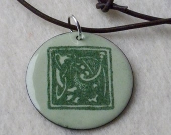 Saint Patrick's Day Book of Kells Enamel Pendant on Leather Cord