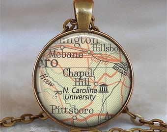 University of North Carolina necklace, UNC pendant Chapel Hill North Carolina map jewelry student alumni graduation gift key chain key ring