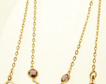 "15"" mixed-link yellow gold (filled) straight-style vintage pocket watch chain with faceted purple crystal accents"