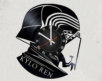"STAR WARS  Kylo Ren VINyL RECoRD CLOCK made from 12"" Vinyl Record best gift for kids bedroom gift for star wars fans Sith vs Jedi"