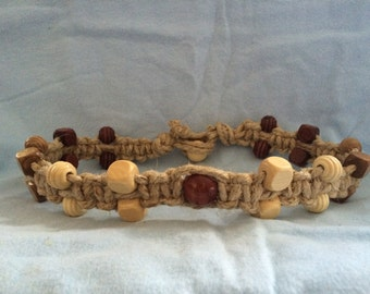 Thick hemp necklace with wooden beads