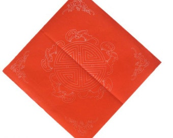 Chinese Calligraphy Material  34x34cm Red Xuan Paper Couplets / Square / Good Fortune / 1 Piece - 0012C