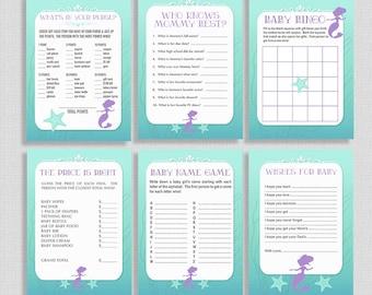 Shower de bébé sirène jeux paquet, Six jeux Shower de bébé fille, Bundle, bricolage imprimable, téléchargement télécharger