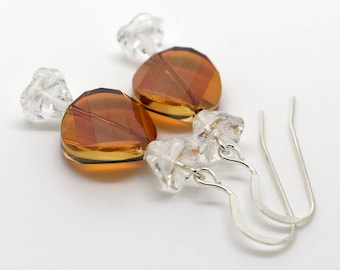 Butterscotch Caramel Hard Candy Candies Earrings - Sterling Silver & Swarovski Crystal Jewelry