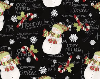 Adorable Snowmen on Black Fabric by Springs Creative (by the yard)