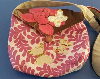 Handbag, Cross Body Handbag, Applique Bag, Fabric Handbag.