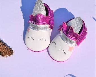 Baby Moccasins, Unicorn Baby Moccasins, Metallic Hot Pink Moccasins, Hot Pink Baby shoes, Metallic Baby Moccasins