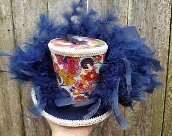 Mini top hat, Mardi Gras, Wedding, Steampunk, Mini top hat with lights, Festival
