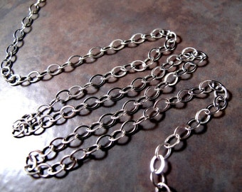 Two Feet of Sterling Silver Chain, 5mm x 4mm Flattened Cable Chain, Great Chain for Charm Necklace or Bracelet, Extender Chain (57s)