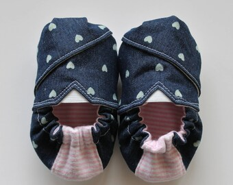 Denim Hearts Baby Shoes