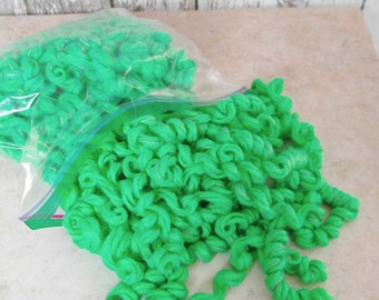 Neon Green Color Curly Yarn Hair for Your Handmade Dolls