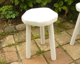 Stool 3 feet in bleached wood and weathered