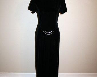 80s Dress Black Velvet Maxi Dress Short Sleeve Dress Medium Black Dress Minimalist Sheath Dress 1980s Womens Clothing Vintage Dresses