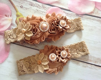Country Rustic Couture burlap bridal garter set- photo prop,wedding,bride,flower girl,lace garter