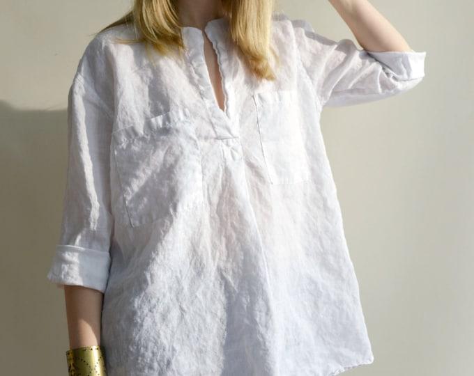 White Linen Shirt, Womens Shirt, Tunic Shirt, 3/4 sleeve shirt, boyfriend shirt, plus size shirt, summer shirt, light shirt, boho shirt