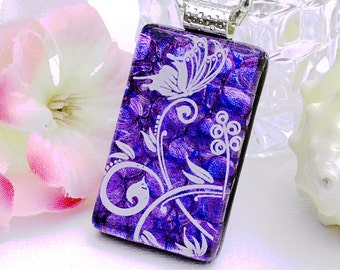 Butterfly Fused Dichroic Glass Pendant, Fused Glass Jewelry, Dichroic Pendant, Blue, Purple, Spring (Item 10342-P)