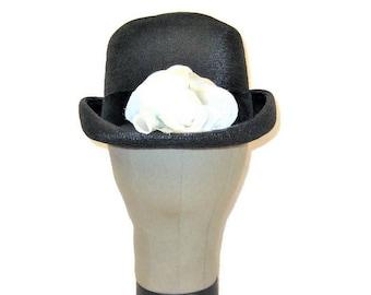60s Bowler Hat, Black Straw Bowler, Derby Hat, 1960s Black Straw Hat, Womens Bowler Hat, Black Summer Hat, Black Spring Hat, MOD Ladies Hat