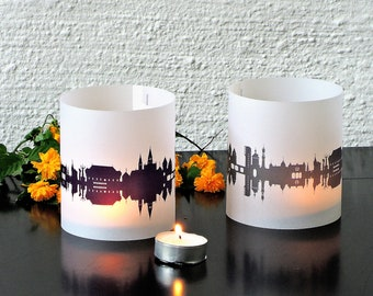Lantern KONSTANZ city light, 2 Tablelight fume / plum, for Konstanz Lovers, Honeymoon in Konstanz, romantic candlelight,City Shade Konstanz